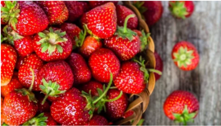 Wicker basket filled with strawberries