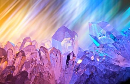 purple crystals shimmering in a cave