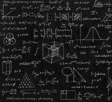 math equations written in chalk on a blackboard
