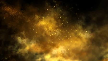 Gold particles against a black backdrop