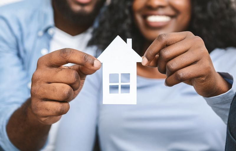 Couple holding VA Home Loan Concept