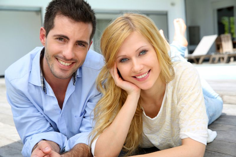 Happy couple planning to buy a house using VA Loans