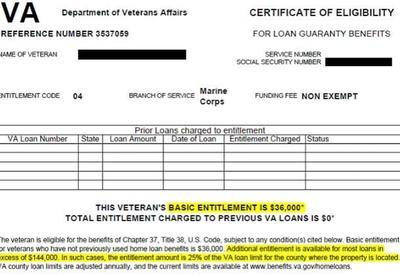 VA Certificate of eligibility.