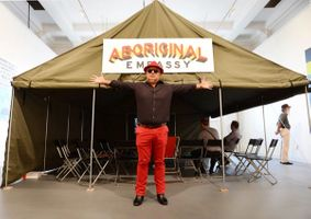 Richard Bell and the Aboriginal Embassy tent at Perth Institute of Contemporary Art