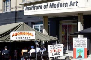 Aboriginal Embassy tent at the Institute of Modern Art