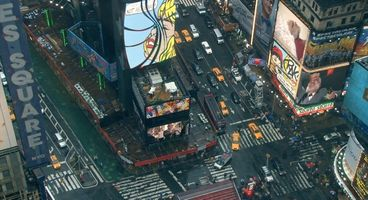 Time Square with artworks of Richard Bell