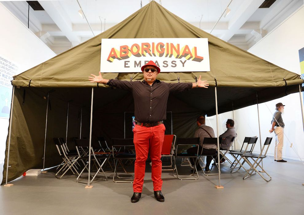 Richard Bell in front of the Aboriginal Embassy tent