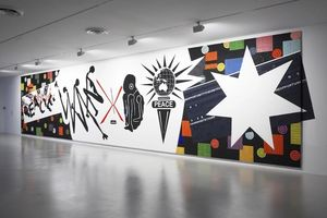 Installation view of 'Peace heals, war kills (Big ass mutha fuckin mural) by Richard Bell & Emory Douglas.