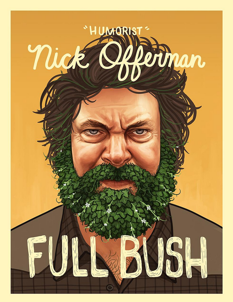 Tour Poster illustration of Nick Offerman in a brown collared shirt with a beard made of leaves.