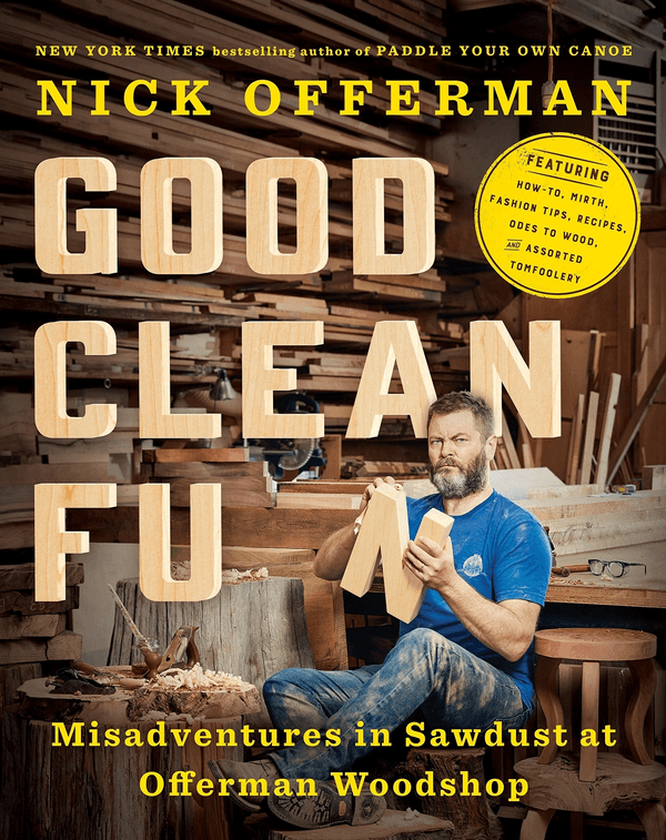Book cover featuring Nick in the woodshop, in a blue t-shirt, sanding the letter N from the title word