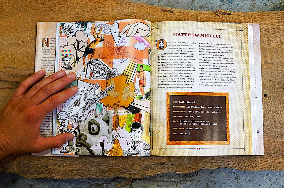 Double page interior spread of Good Clean Fun featuring Pat Riot collage on left page.