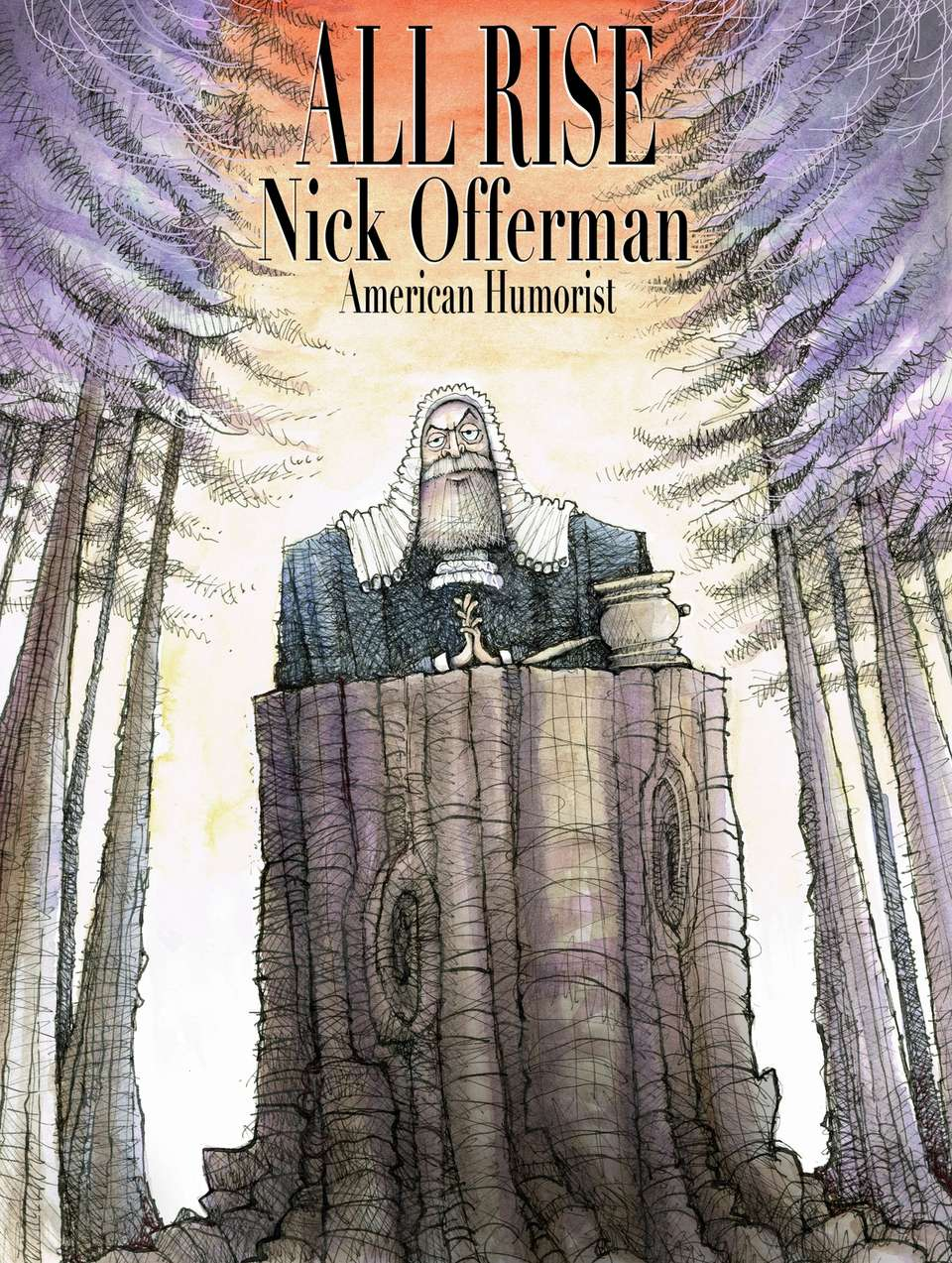 Tour poster illustration depicting Nick Offerman as a judge in a forest