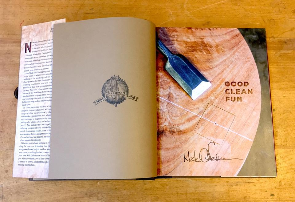 Interior title page of Good Clean Fun with Nick Offerman's autograph, and stamp from Offerman Woodshop.