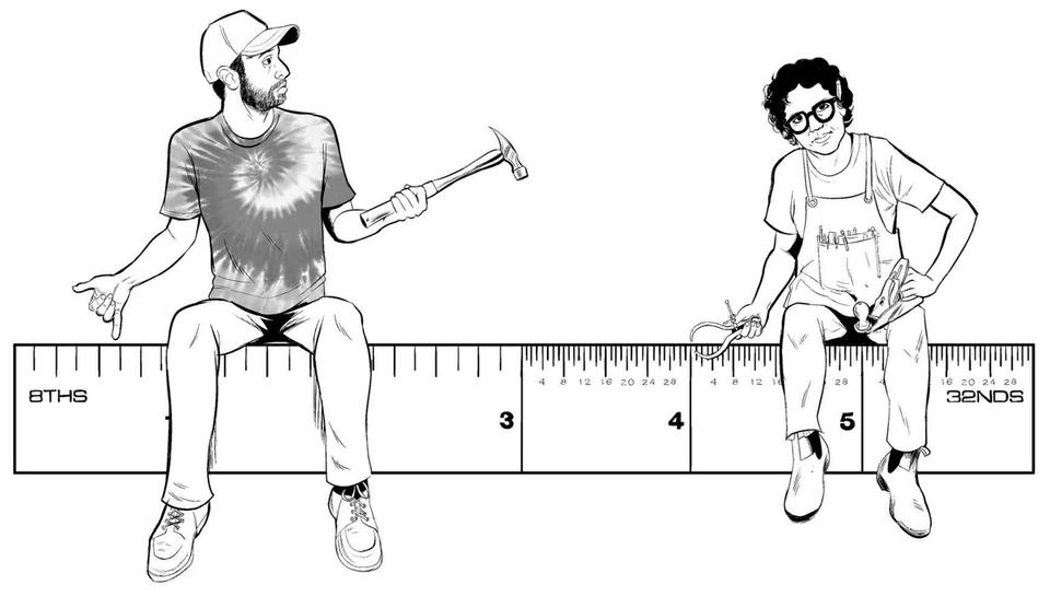Cartoon of Matther Miccuci and RH Lee sitting on either side of a ruler. Matthew looking at Lee with confusion.