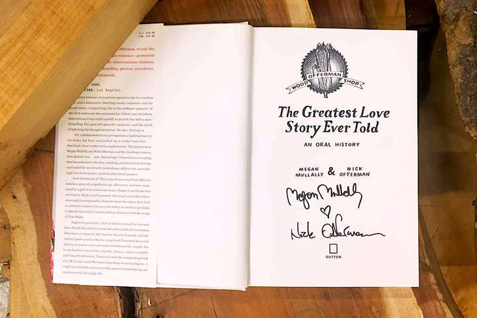 Inside title page of featuring Nick Offerman & Megan Mullally's autographs as well as the Offerman Woodshop stamp.