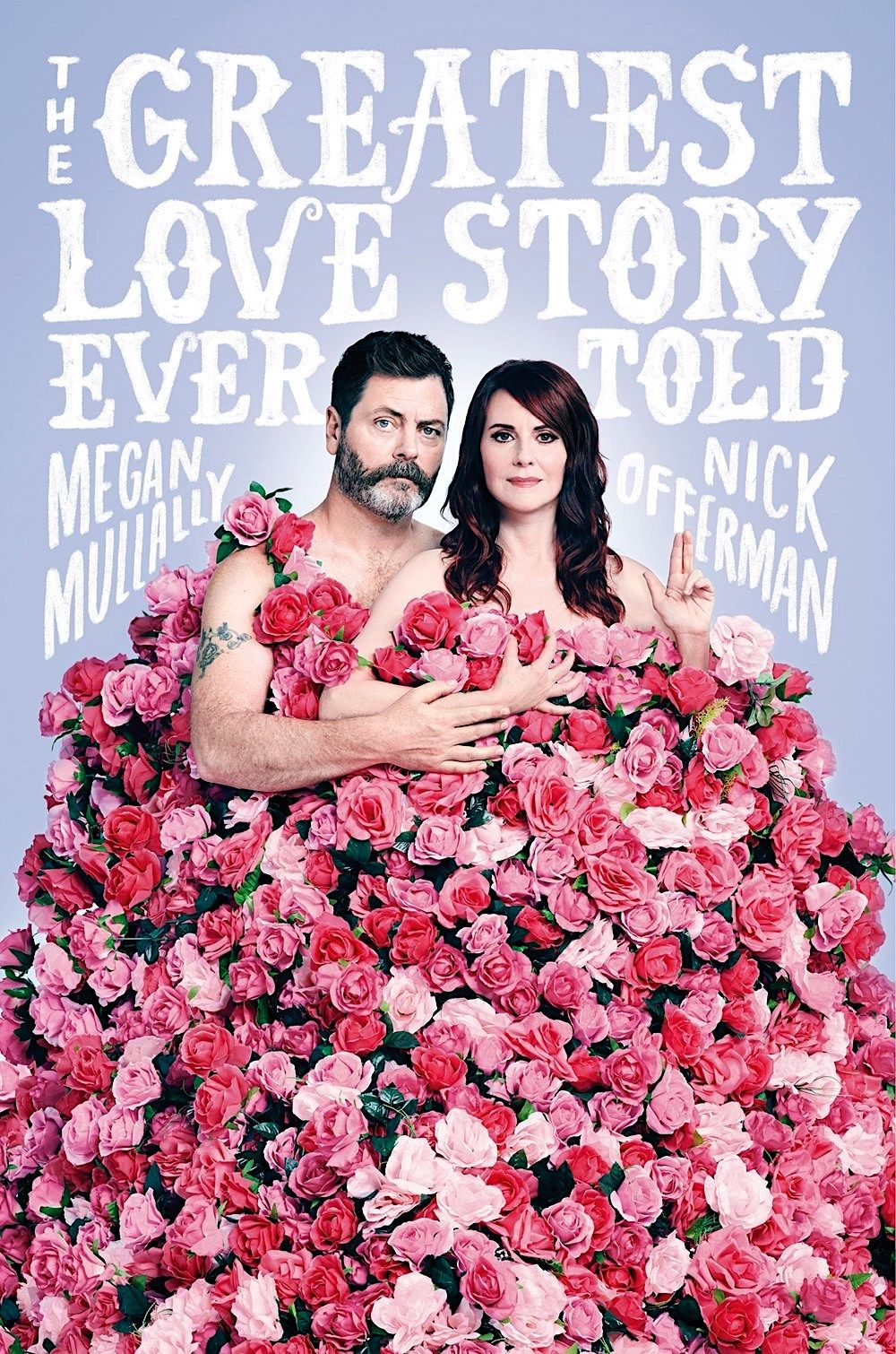 Book cover image of Nick Offerman & Megan Mullally under a blanket of pink roses.