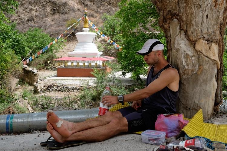 Having a snack by a Buddhist pagoda