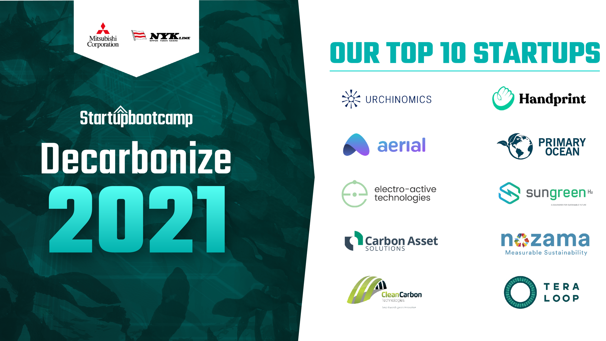 TEN GLOBAL STARTUPS HAVE BEEN SELECTED FOR THE DECARBONIZE ACCELERATOR PROGRAM