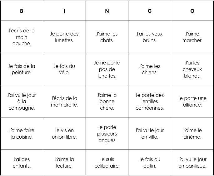Carte de bingo