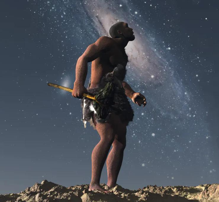 A CGI rendering of a caveman staring up at a starry sky.