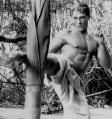 Jean Claude Van Damme kicking down a tree.