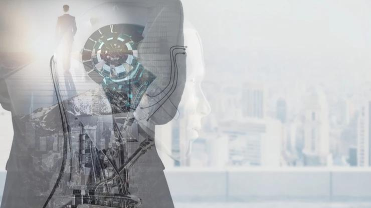A robot at 50% opacity is superimposed on an image of a man walking down a path.