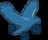 En blå fugl og bokstavene PSO.