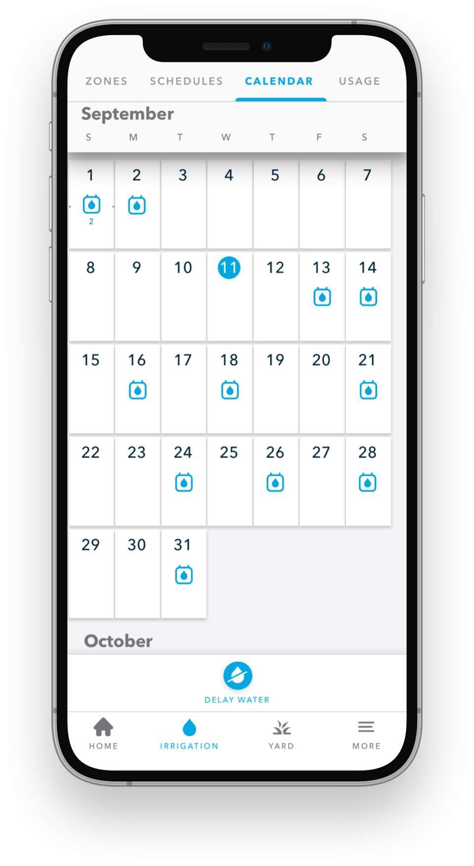 Rachio mobile app on iPhone