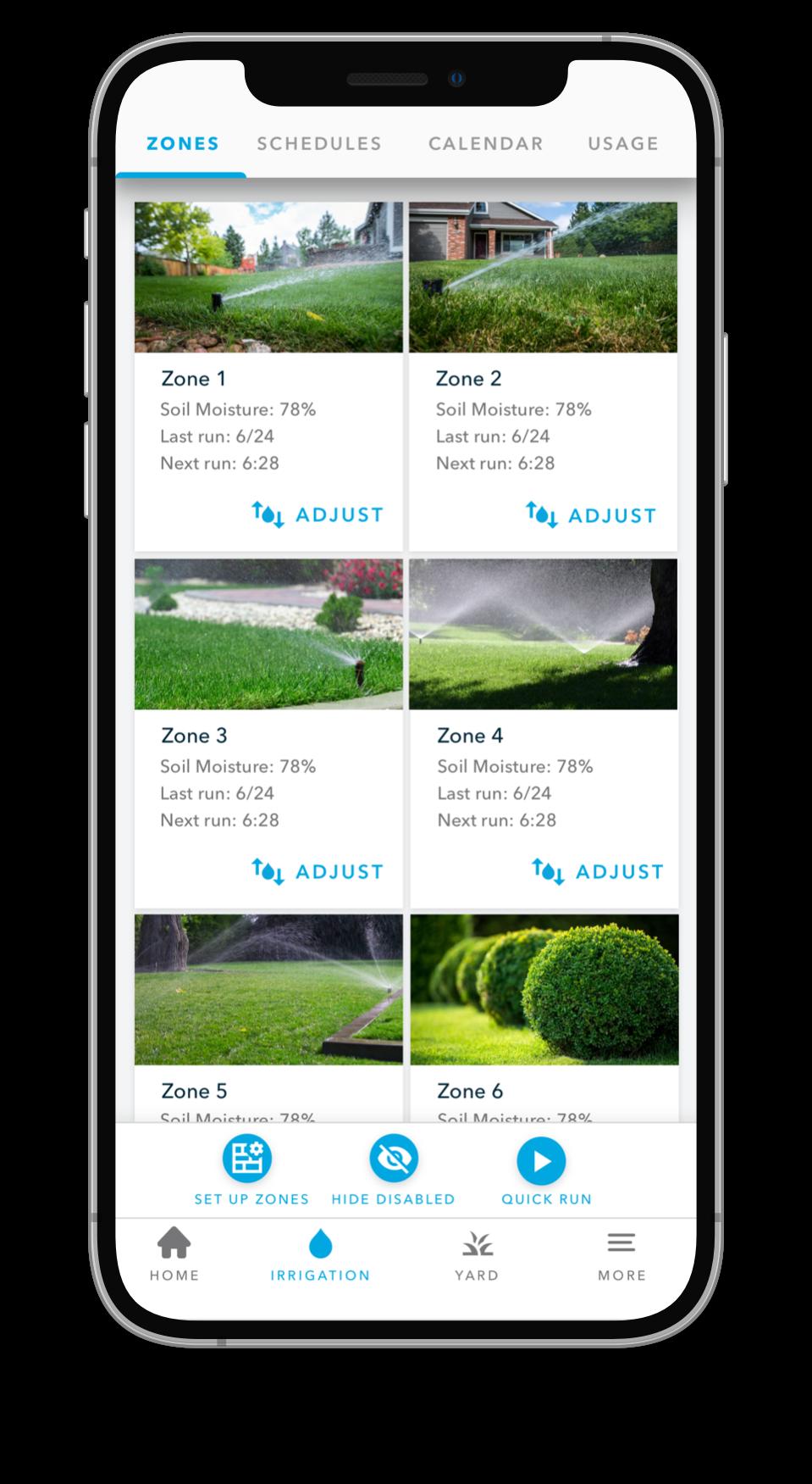 Screenshot of zones in Rachio mobile app
