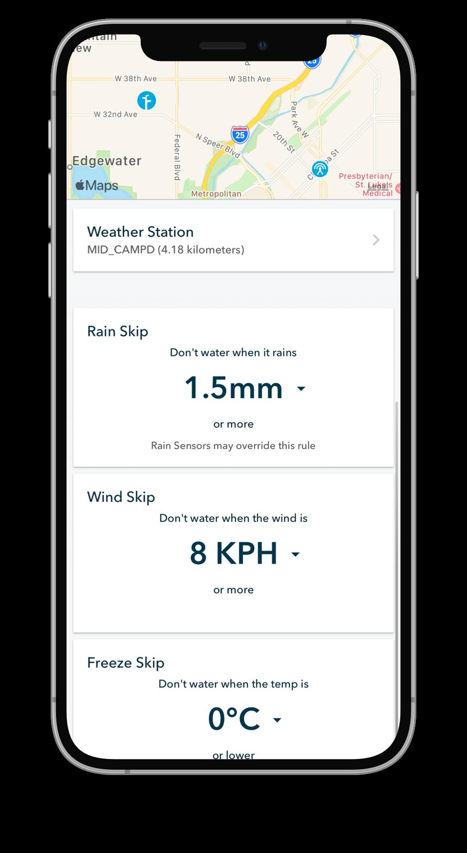 Weather station Rachio mobile app screenshot
