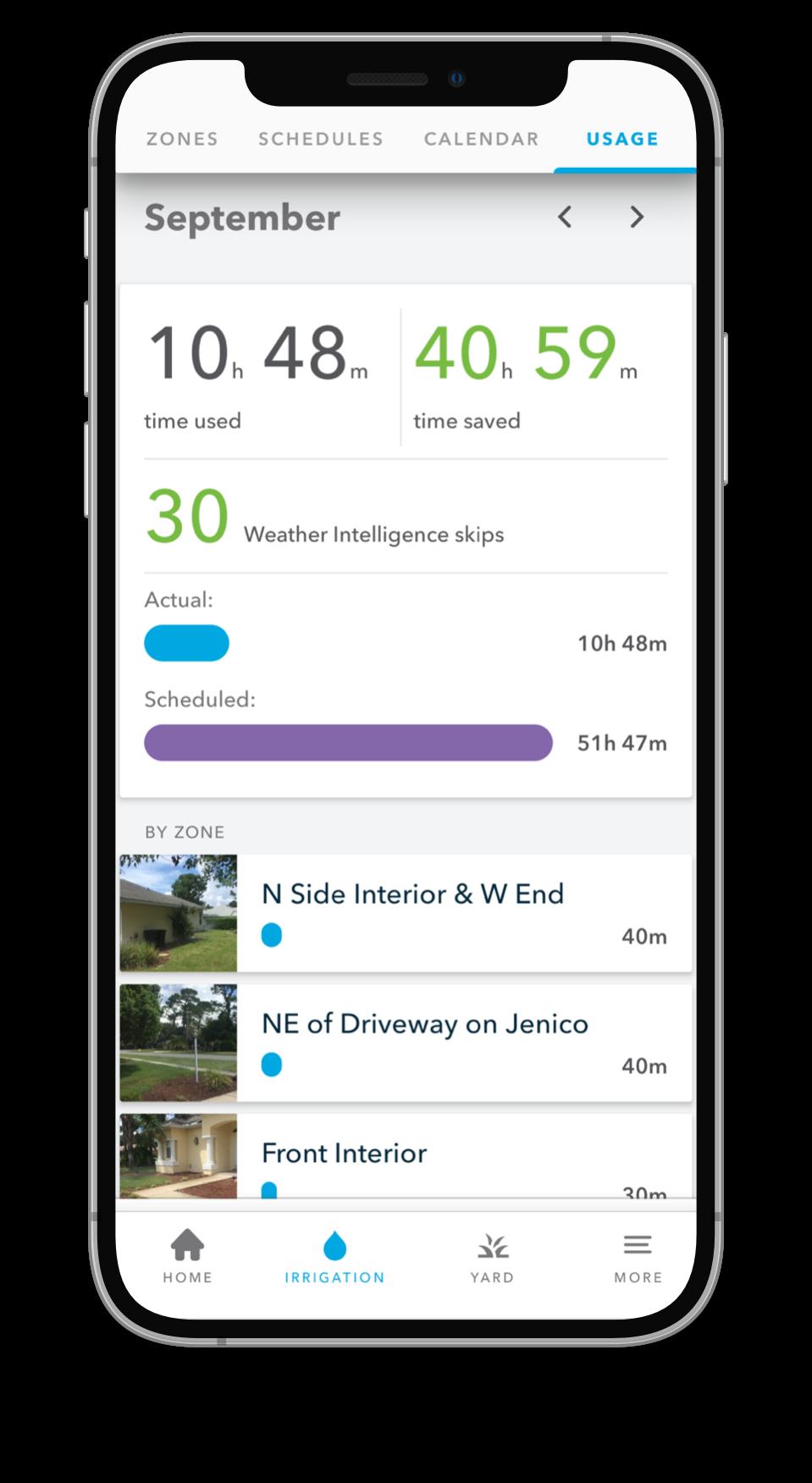 iPhone showing Rachio Mobile App
