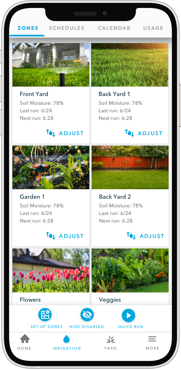 Irrigations zones as shown in the Rachio app