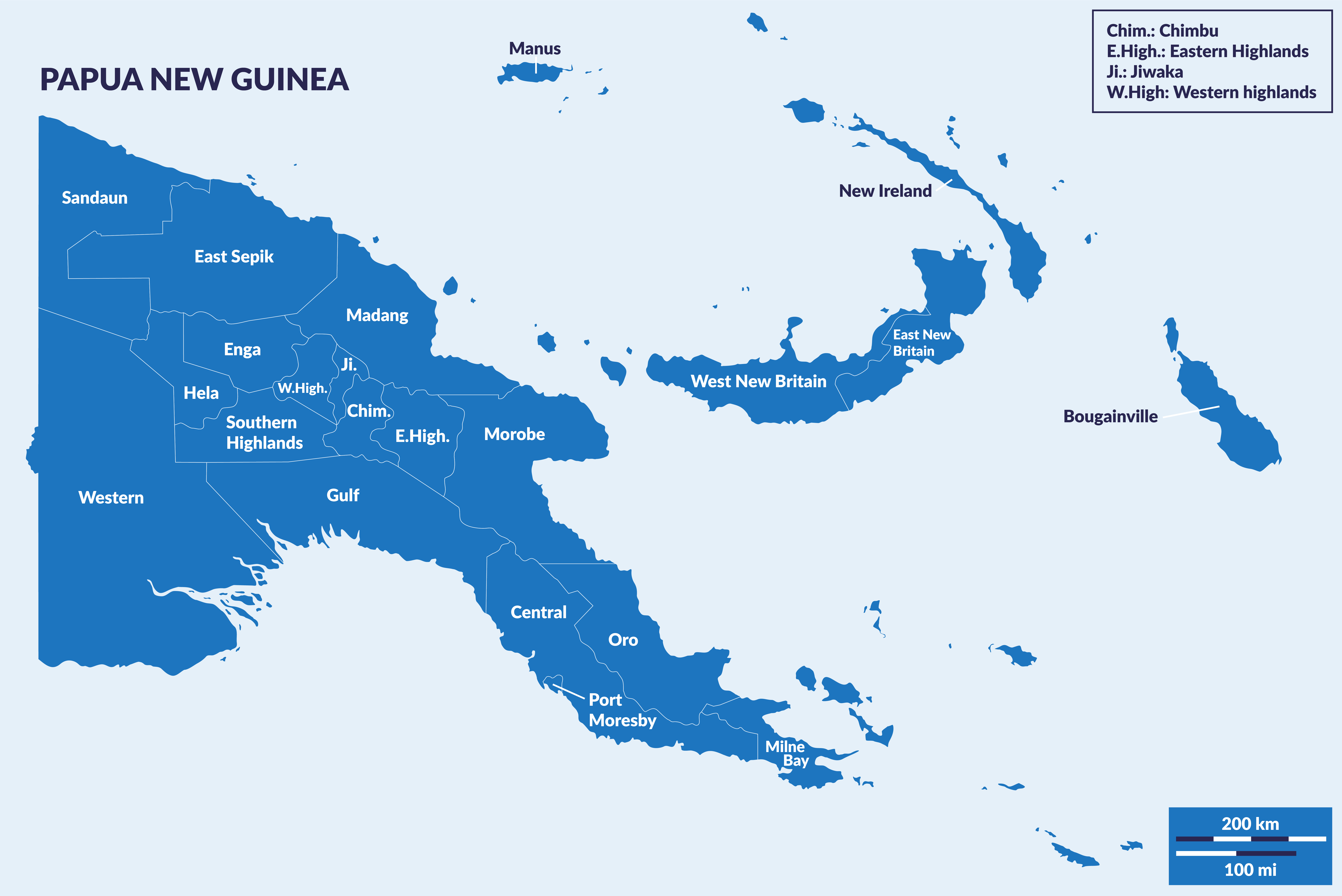 Map of Papua New Guinea's provinces