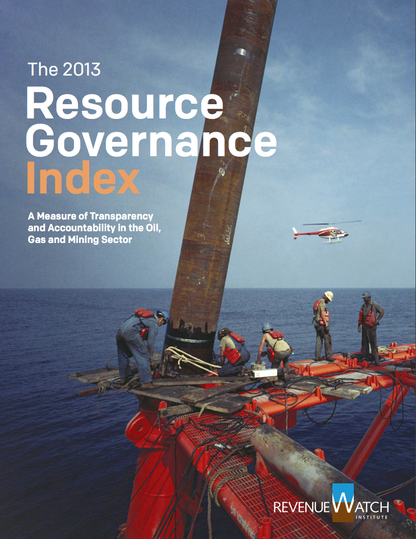 Resource governance index report 2013 cover page