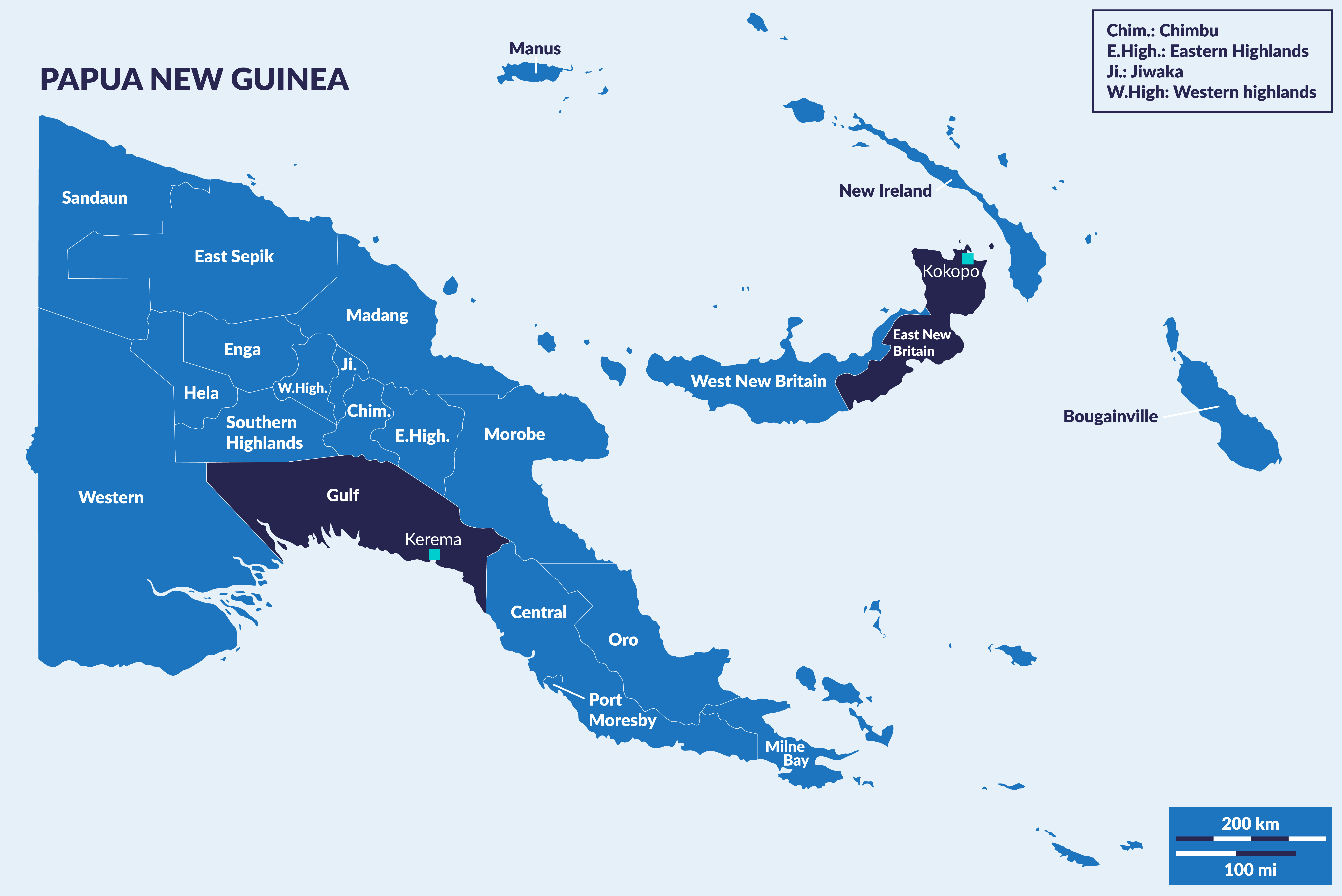 Map of PNG showing Gulf and East New Britain provinces