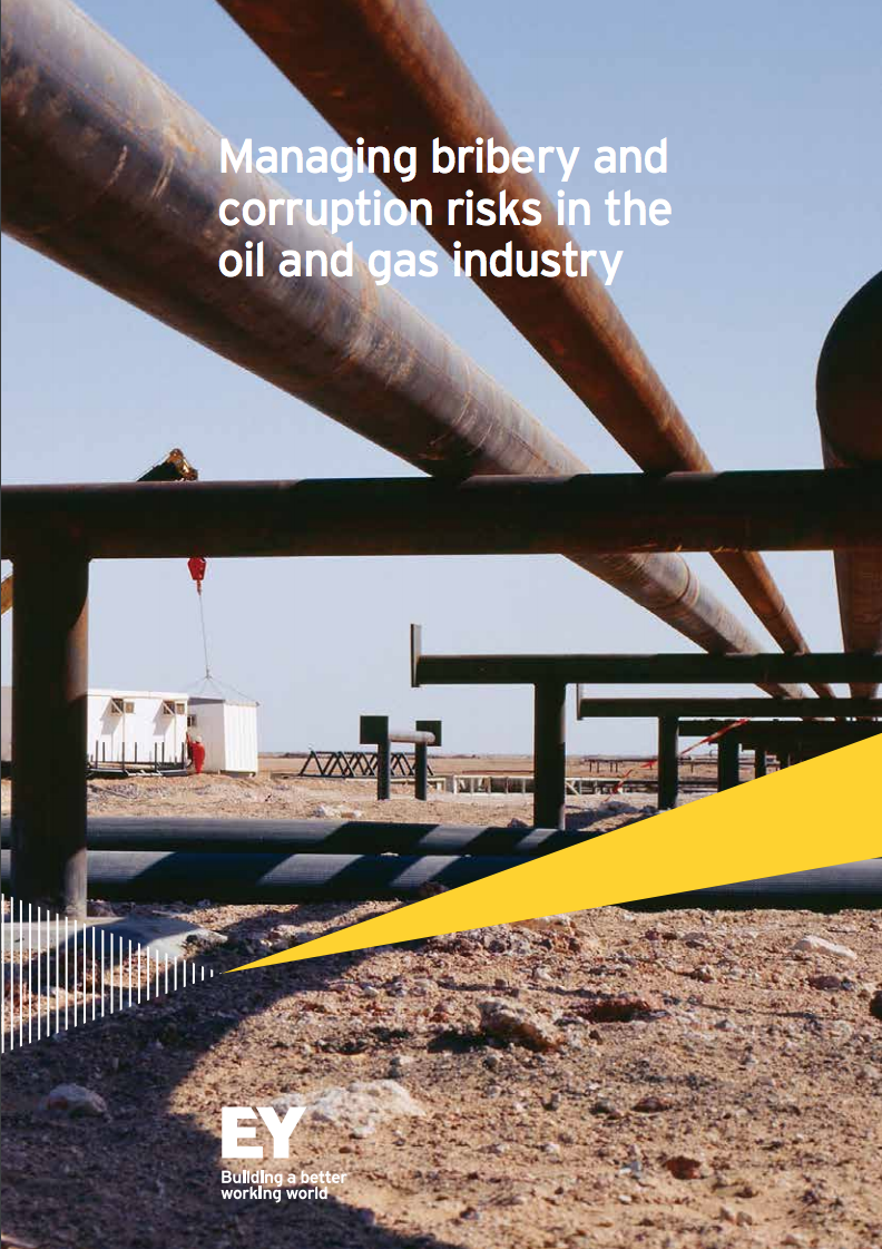 Earnst and Young report cover on managing bribery and corruption risks in the oil and gas industry