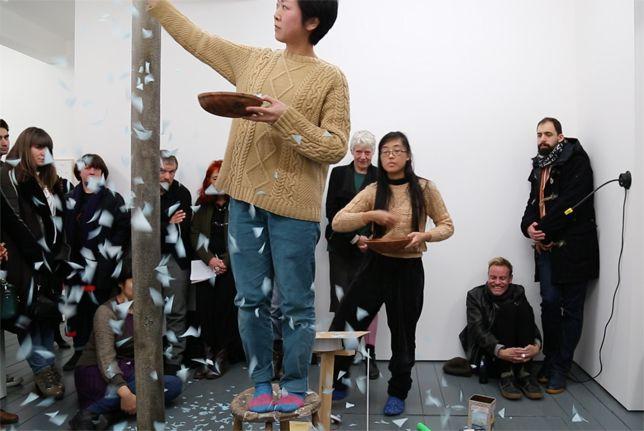 Rie Nakajima and Keiko Yamamoto perform No Fall, No Show Space, 2014