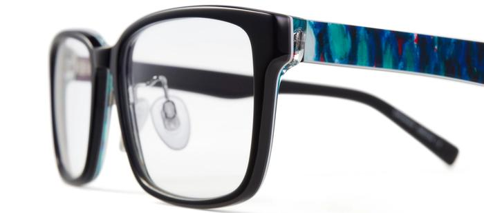 Black prescription glasses with blue patterned arms