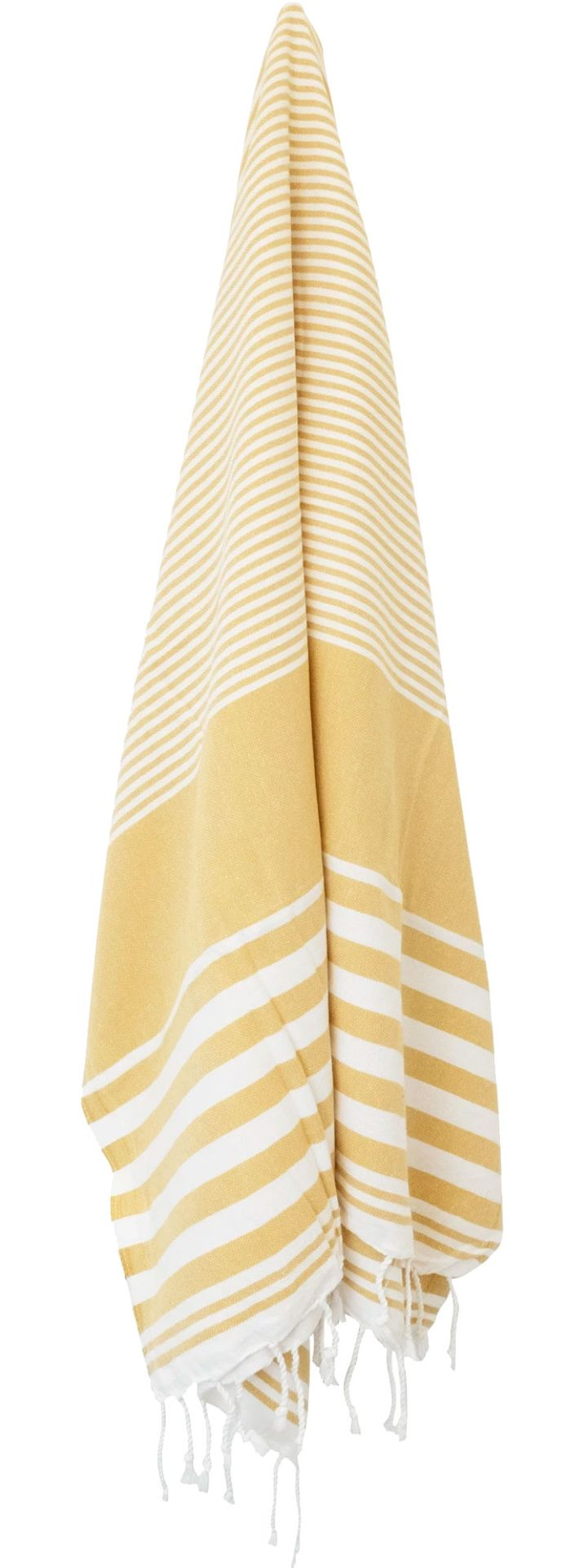 Yellow and white striped hanging Turkish towel