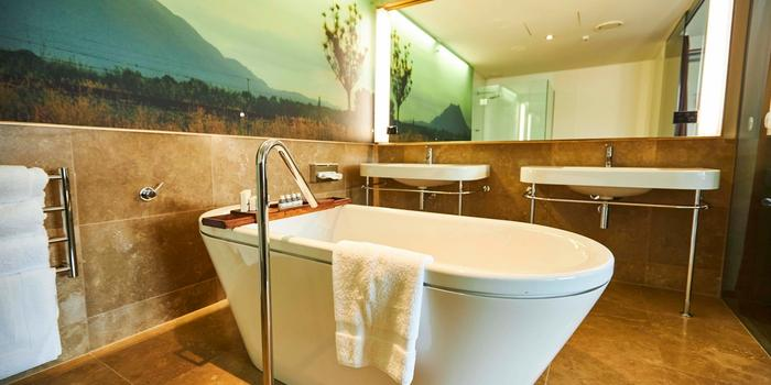 Freestanding bath tub in room at the Ohtel, Wellington