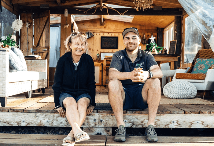 Elspeth and Tim Loughnan of Tawanui Farm glamping