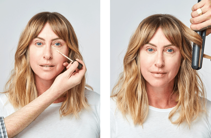 Two photos of model having make-up applied and hair curled