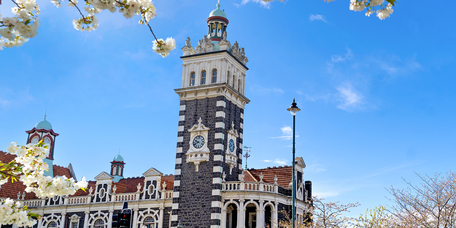 Historic clock tower in Dunedin