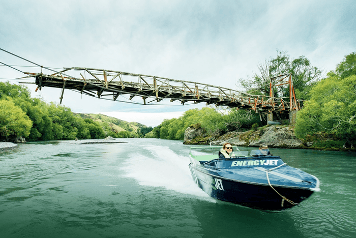 Energy Jet jetboat being sailed along Hurunui River