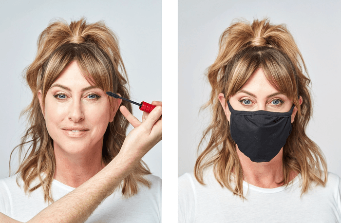Two photos of model having hair and make-up done