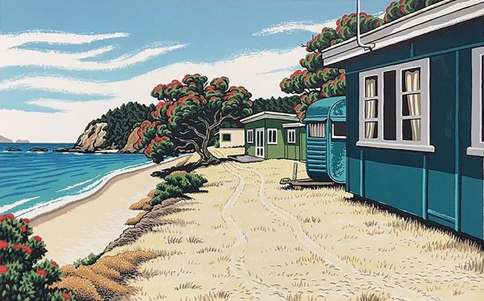 Tony Ogle print of Sandspit Baches in Matapouri,