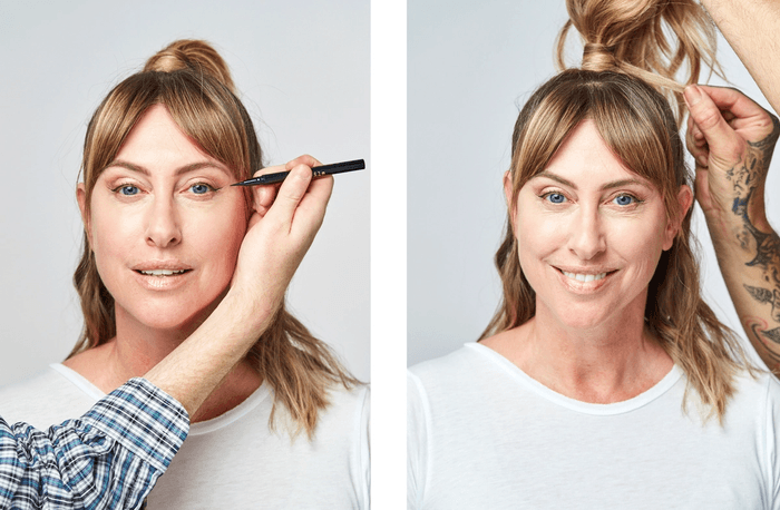Two photos of model having make-up and hair done