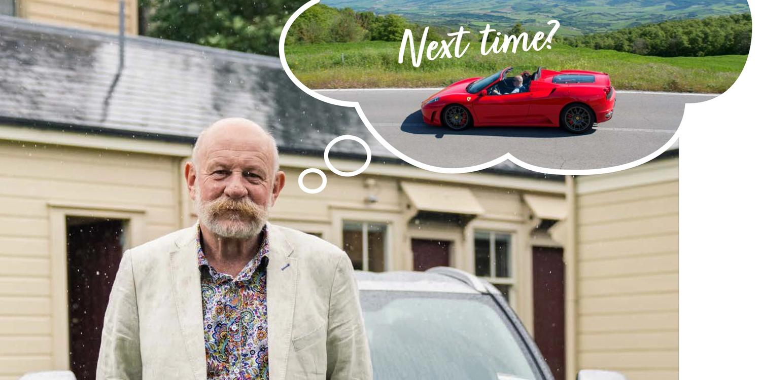 Mark Sainsbury standing in front of Toyota Yaris with thought bubble of red Lamborghini