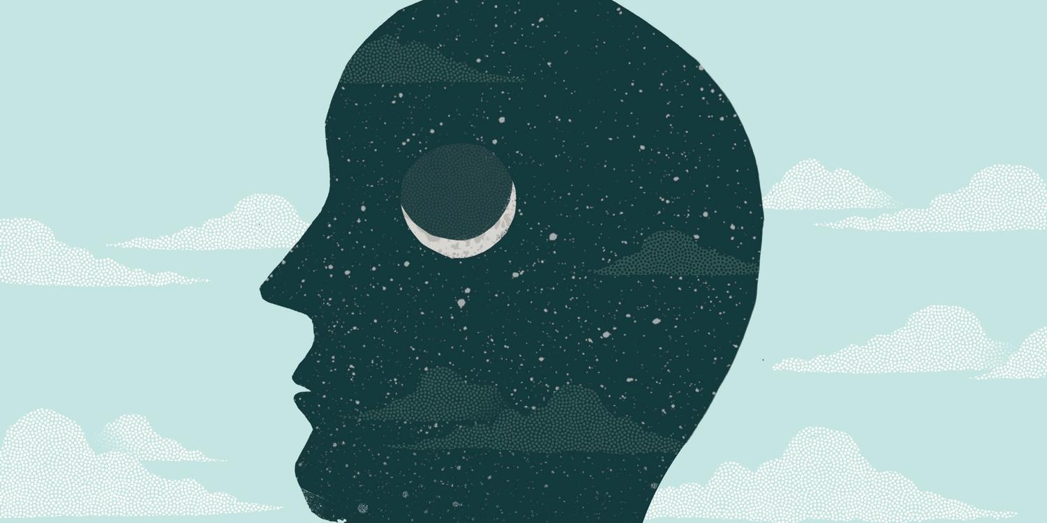 Illustration of man's head outline with night skies and moon behind him