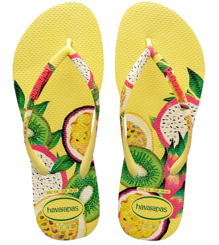 Yellow Haviana jandals with fruit graphics